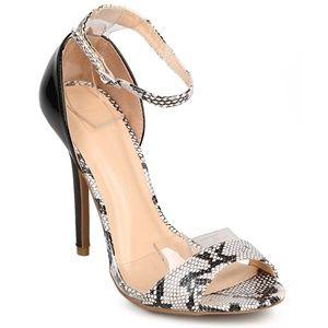 Wild Diva Shoes - Adele Black Snake Open Toe Heels